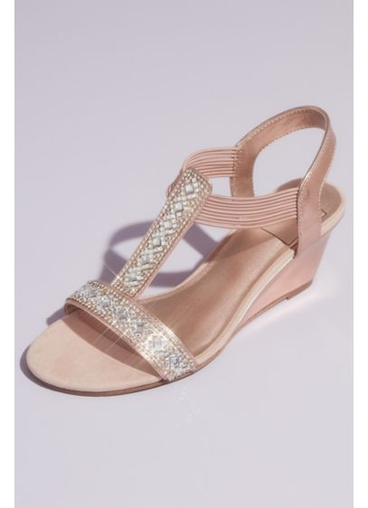 Crystal Pull On Metallic T-Strap Wedge Sandals - These metallic wedge sandals pack a punch. Square